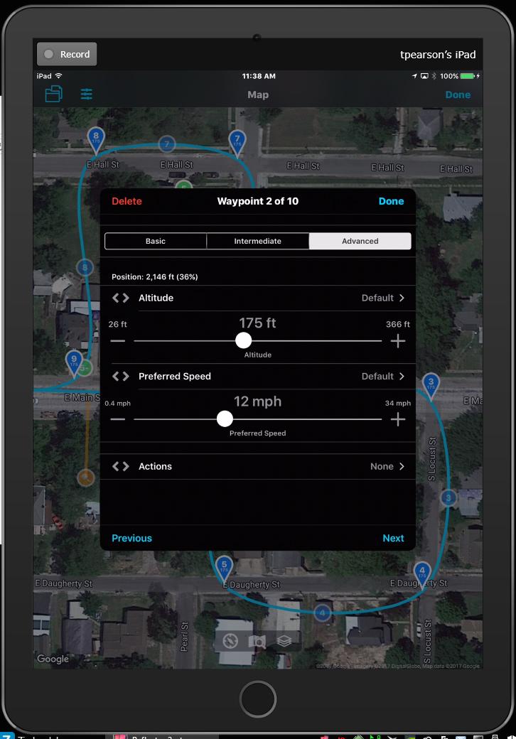 Autopilot Waypoint Settings
